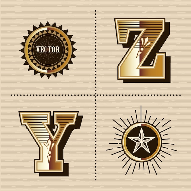 Illustration vectorielle de lettres alphabet occidental vintage design de polices (y, z) Vecteur Premium