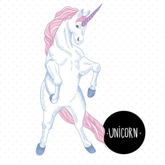 Illustration vectorielle d'une licorne blanche avec des coeurs Vecteur Premium