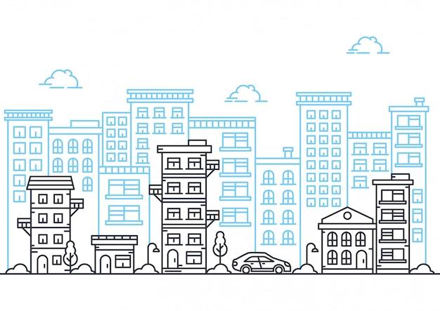 Illustration vectorielle de la ligne de la ville Vecteur Premium
