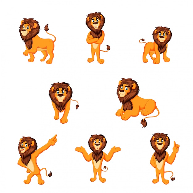 Illustration vectorielle de lion dessin animé Vecteur Premium