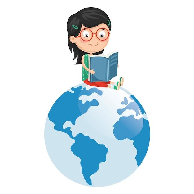 Illustration vectorielle de livre de lecture pour enfant Vecteur Premium