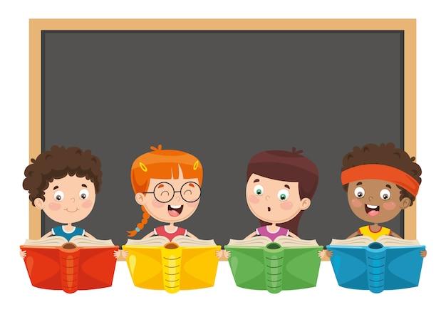 Illustration vectorielle de livre de lecture pour enfants Vecteur Premium