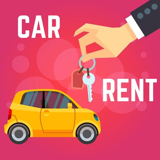 Illustration vectorielle de location de voiture. voiture jaune de style plat, main tenant les clés. Vecteur Premium