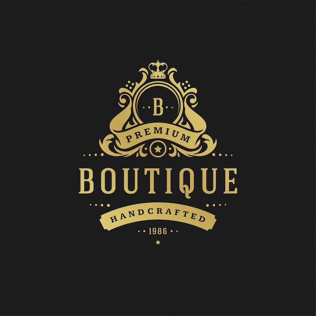 Illustration vectorielle de luxe logo design illustration vectorielle vignettes victoriennes ornements. Vecteur Premium