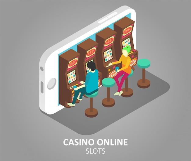 Illustration Vectorielle De Machines à Sous Mobiles En Ligne De Casino Vecteur Premium