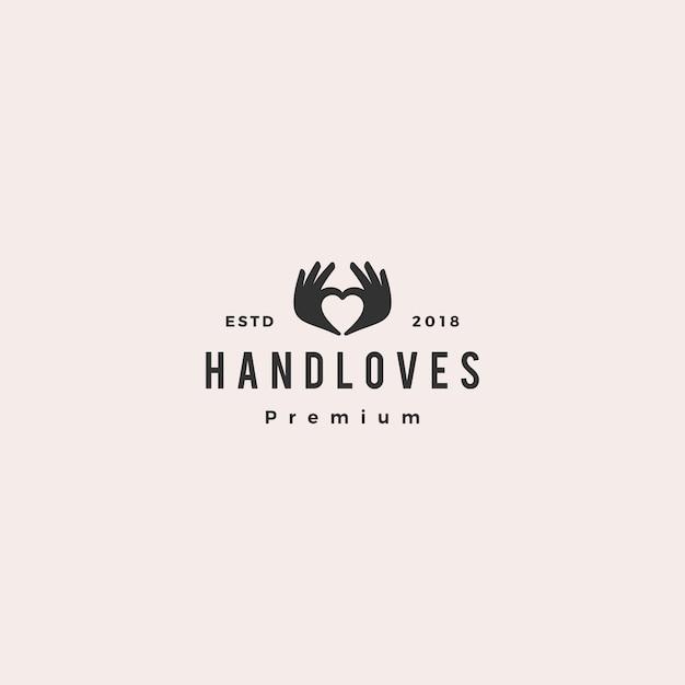 Illustration vectorielle de main amour logo Vecteur Premium