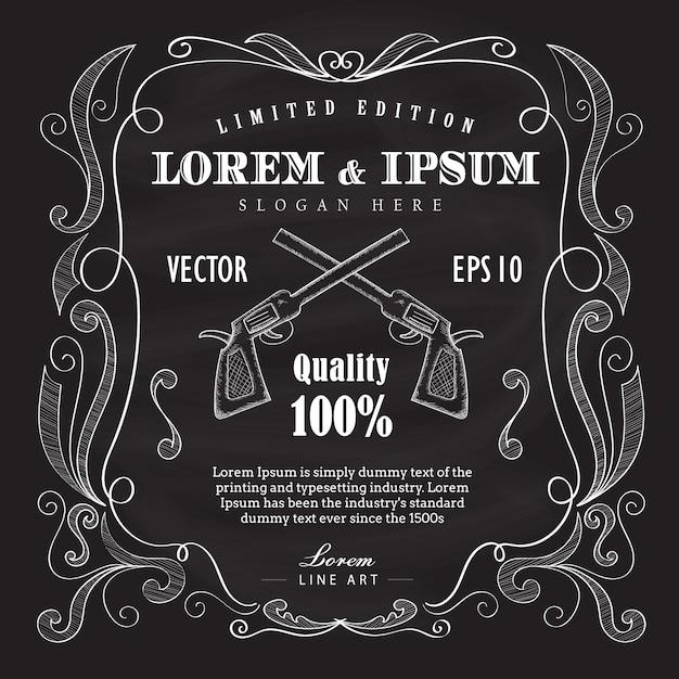 Illustration vectorielle de main dessinée cadre étiquette vintage tableau noir Vecteur Premium