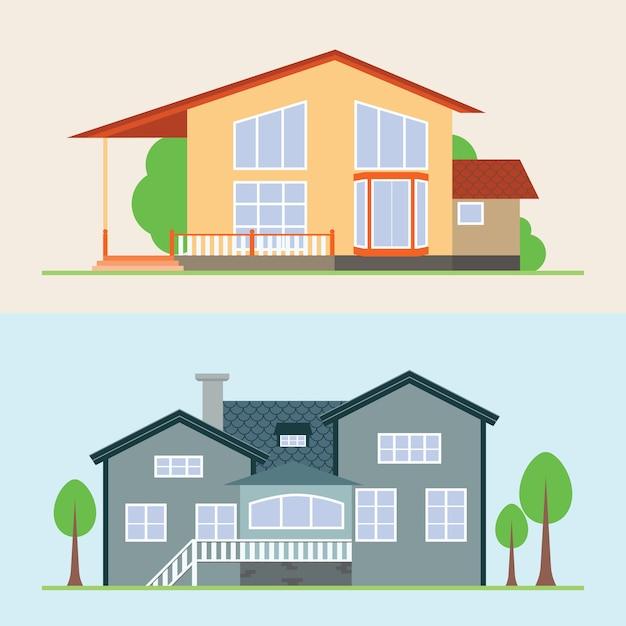 Illustration vectorielle de maison Vecteur Premium