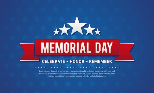 Illustration vectorielle de memorial day greeting card Vecteur Premium