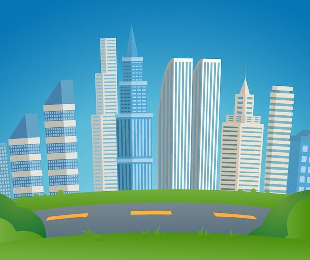 Illustration vectorielle métropole de paysage urbain de dessin animé. Vecteur Premium