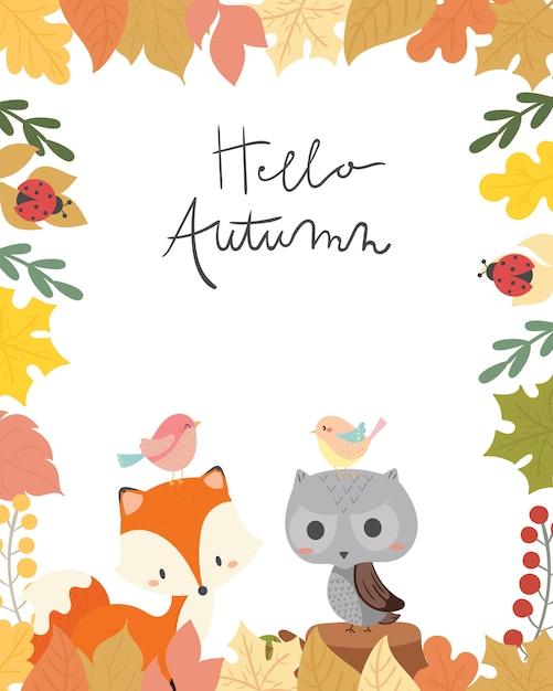 Illustration vectorielle de mignon animal automne carte. Vecteur Premium