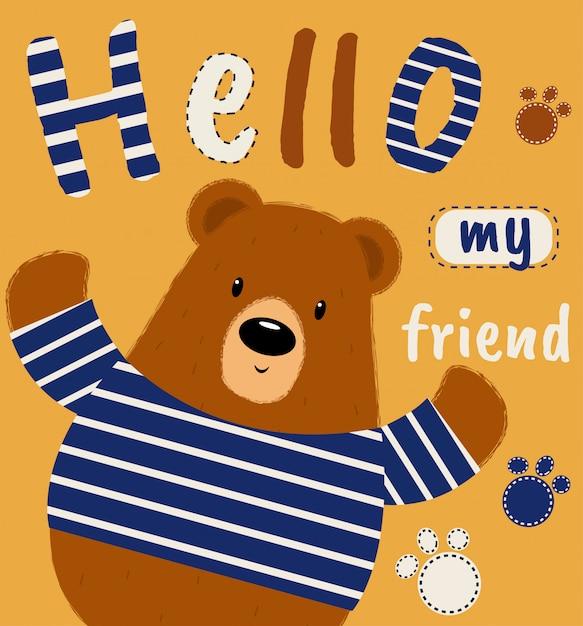 Illustration vectorielle de mignon ours dessinés à la main Vecteur Premium