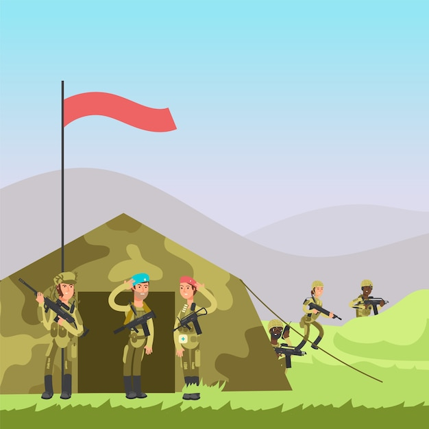 Illustration Vectorielle Militaire Vecteur Premium