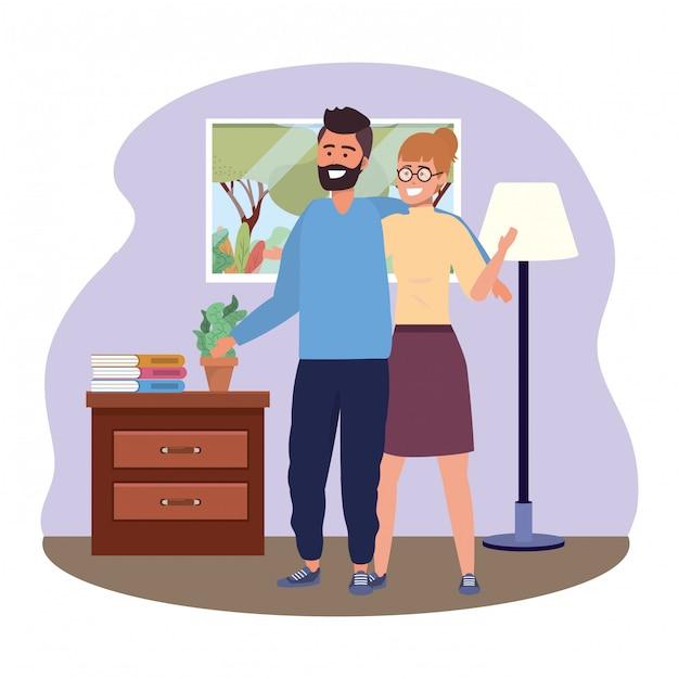 Illustration Vectorielle De Millénaire Couple à L'intérieur Vecteur Premium