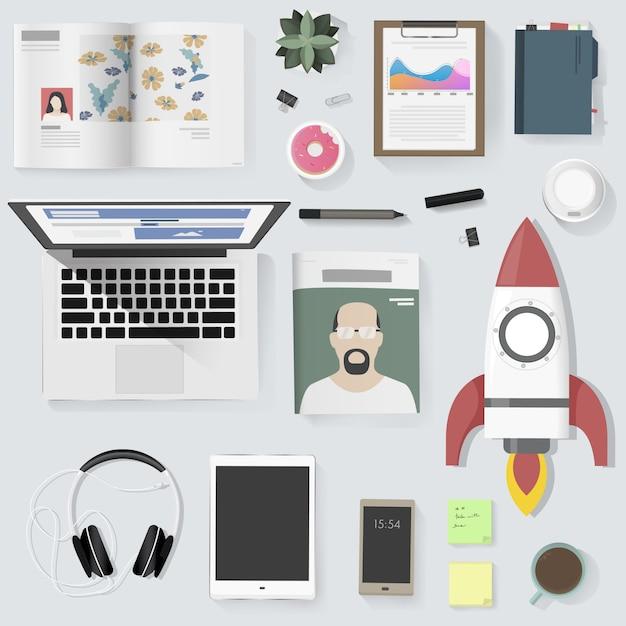 Illustration vectorielle de mode de vie personnes gadget équipement Vecteur Premium