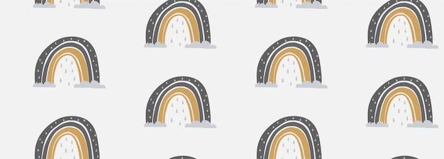 Illustration Vectorielle Modèle Dessiné à La Main D'un Arc-en-ciel Mignon Vecteur Premium