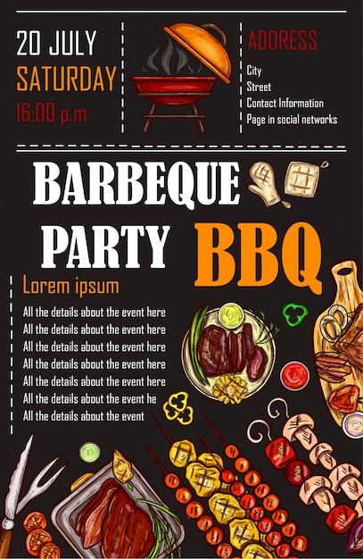 Illustration vectorielle d'un modèle de menu bbq, carte d'invitation sur un barbecue, certificat-cadeau Vecteur gratuit