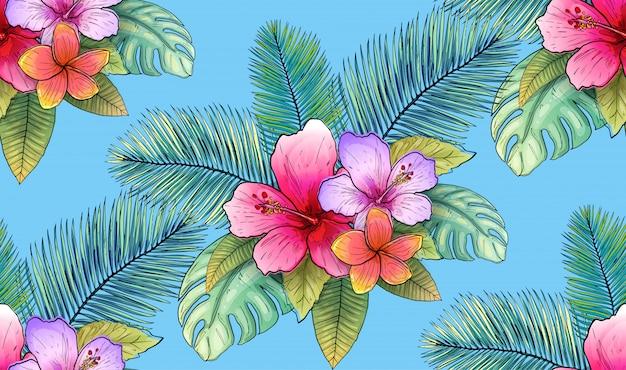 Illustration vectorielle de modèle sans couture tropical floral et feuille. Vecteur Premium