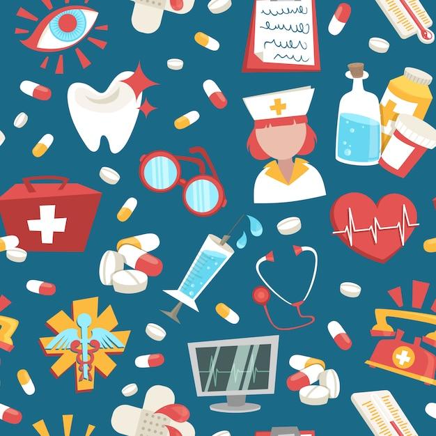 Illustration Vectorielle De Modèle Sans Couture D'urgence Médical Hôpital Support Vecteur gratuit