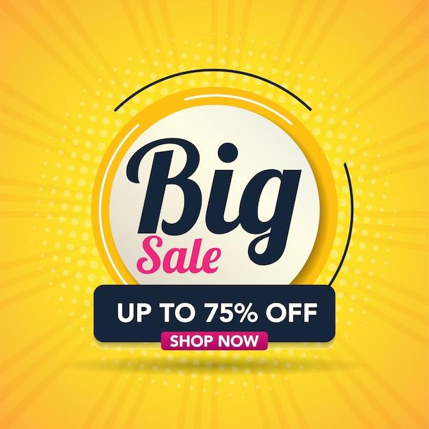 Illustration vectorielle moderne grande vente bannière Vecteur Premium
