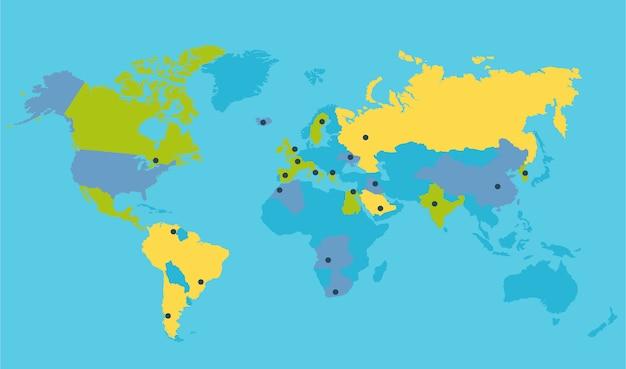 Illustration vectorielle de monde carte politique Vecteur Premium