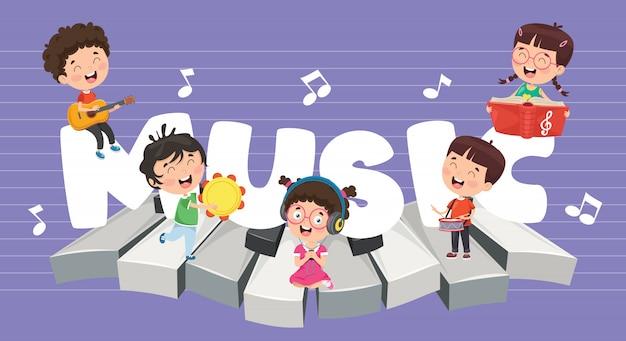 Illustration vectorielle de la musique des enfants Vecteur Premium