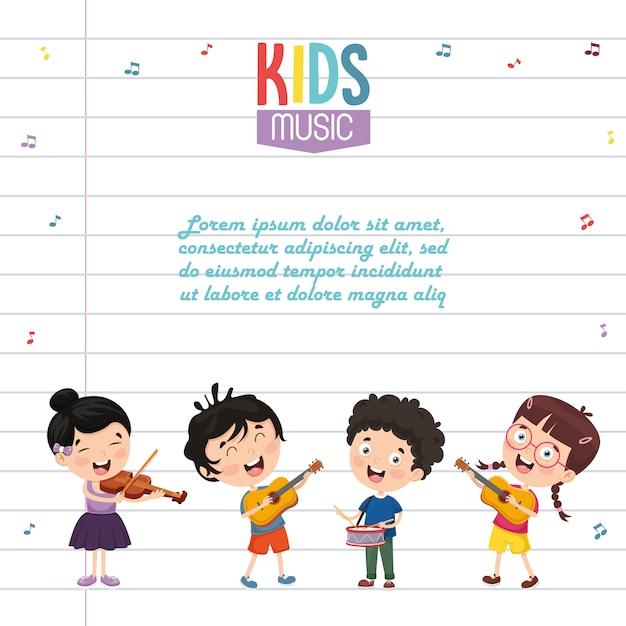 Illustration vectorielle de musique pour enfants Vecteur Premium