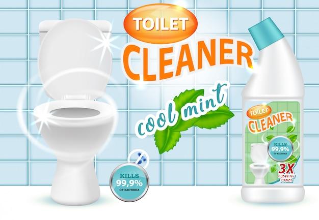 Illustration Vectorielle De Nettoyant Pour Les Toilettes à La Menthe Fraîche Vecteur Premium