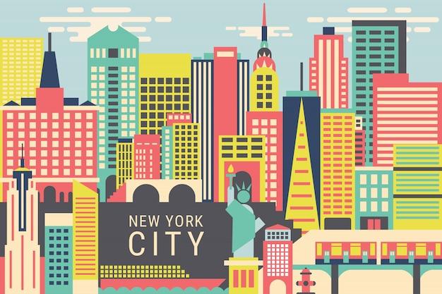 Illustration vectorielle new york city Vecteur Premium
