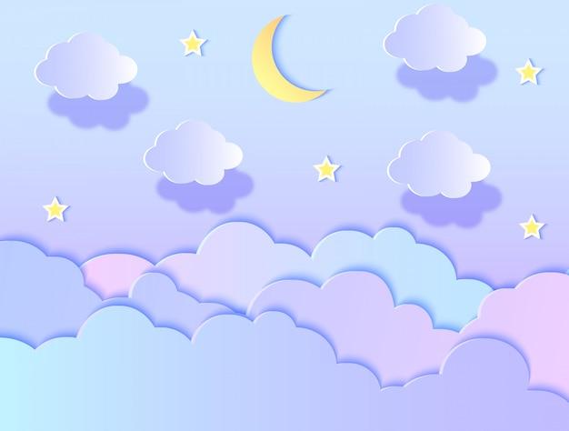 Illustration vectorielle des nuages, des étoiles et de la lune. style d'art de papier. Vecteur Premium