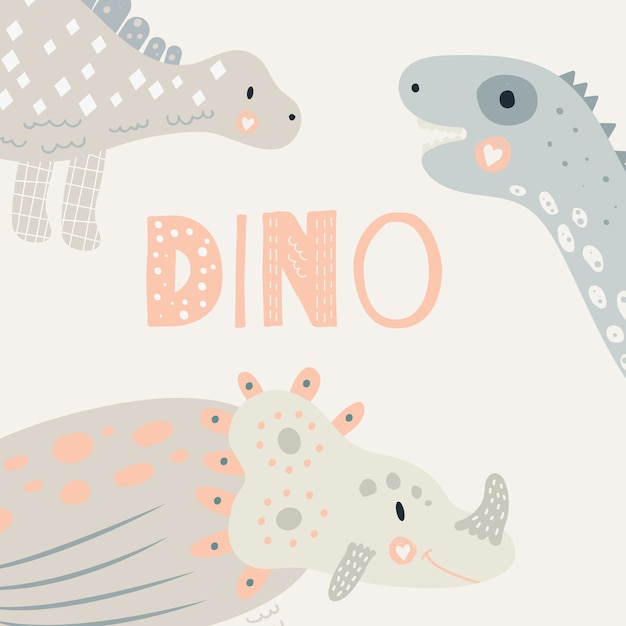 Illustration vectorielle nursery cute print avec dinosaure. triceratops, diplodocus, stegosaurus. couleur pastel. pour les t-shirts, les affiches, les banderoles et les cartes de souhaits des enfants. Vecteur Premium