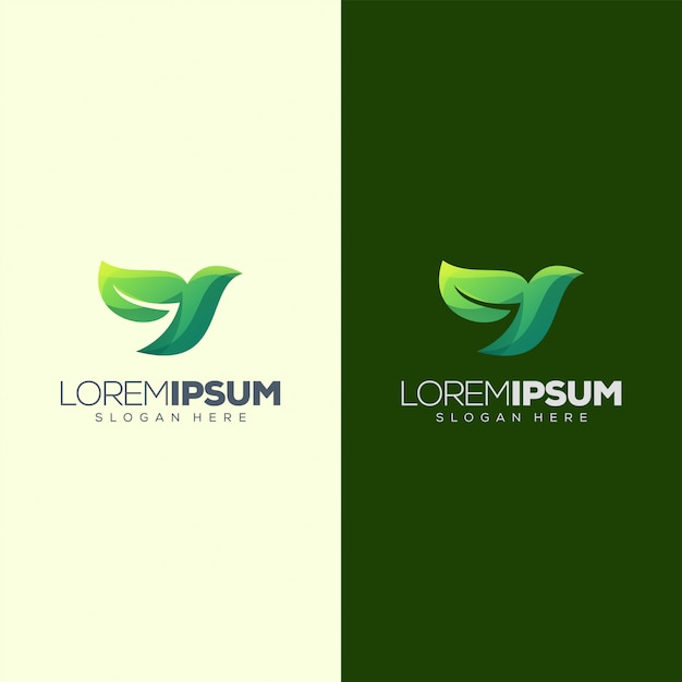 Illustration vectorielle d'oiseau feuille logo design Vecteur Premium