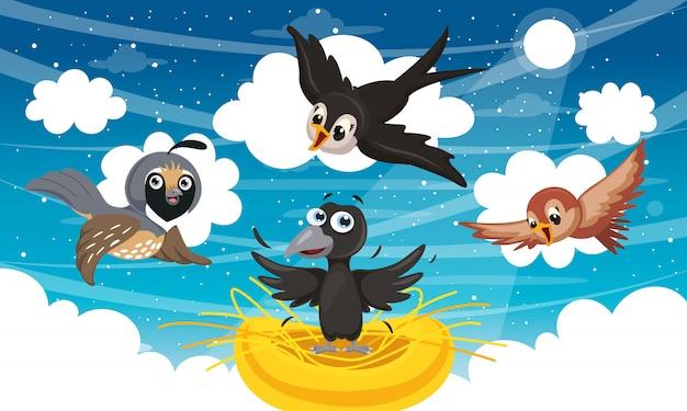 Illustration vectorielle d'oiseaux de dessin animé Vecteur Premium