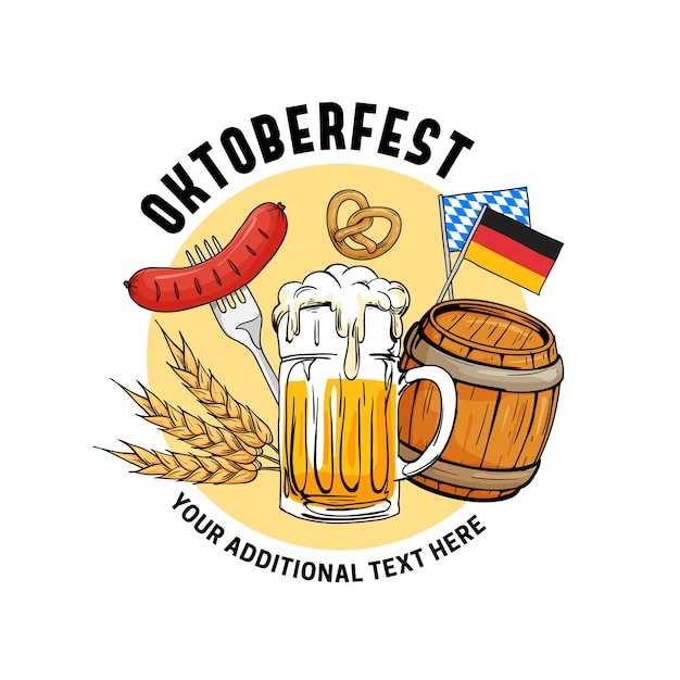 Illustration vectorielle d'oktoberfest dessinés à la main. Vecteur Premium