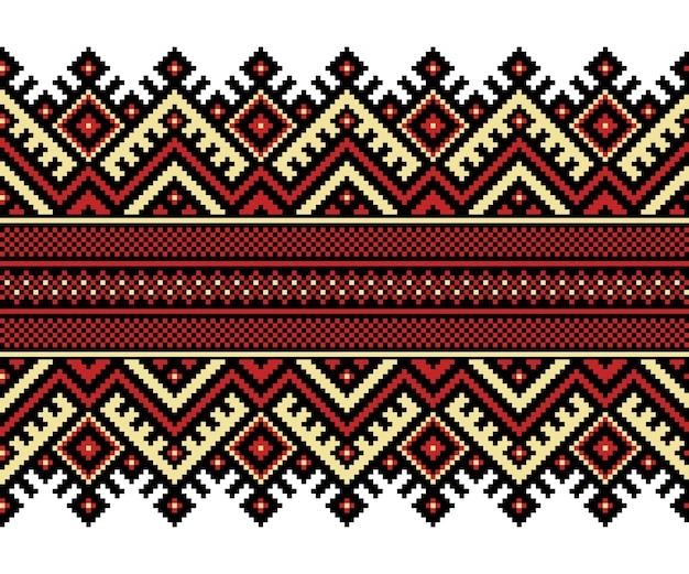 Illustration vectorielle de l'ornement de motifs sans fin folkloriques ukrainiens. ornement ethnique. élément de bordure. traditionnel ukrainien, motif de broderie tricotée artisanale biélorusse - vyshyvanka Vecteur gratuit
