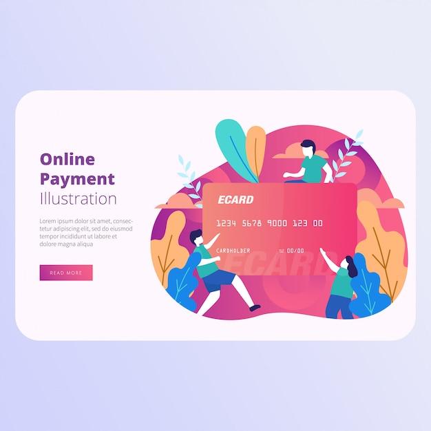 Illustration vectorielle de page de destination de paiement en ligne Vecteur Premium