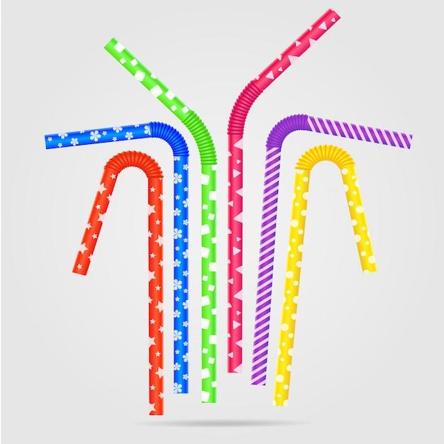 Illustration vectorielle avec des pailles de couleur et différents. pailles à boire avec une texture plastique en vase clos. Vecteur Premium