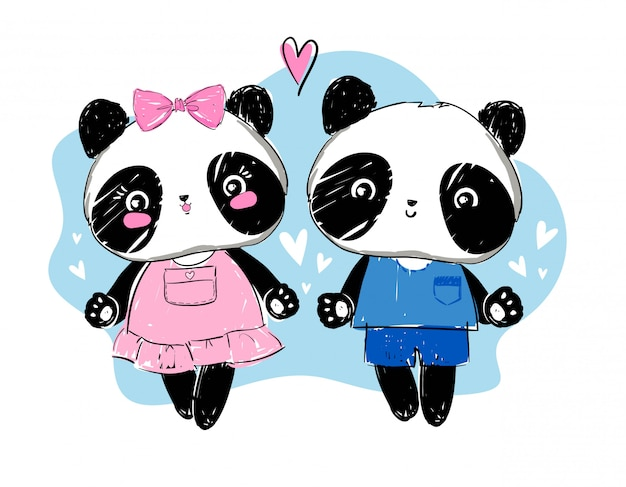 Illustration vectorielle de panda amour couple Vecteur Premium