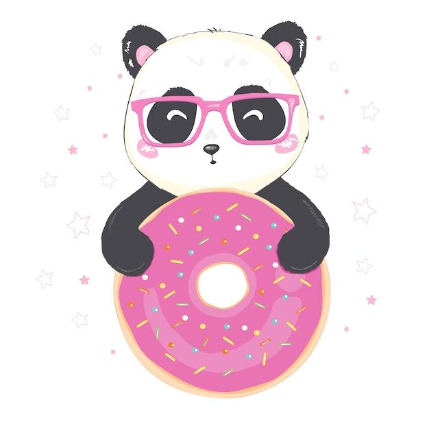 Illustration Vectorielle: Un Panda Géant De Dessin Animé Mignon Est Assis Avec Un Beignet Rose à La Main Vecteur Premium