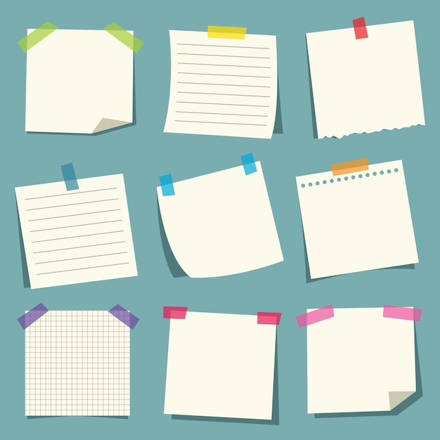 Illustration vectorielle de papiers à notes Vecteur Premium