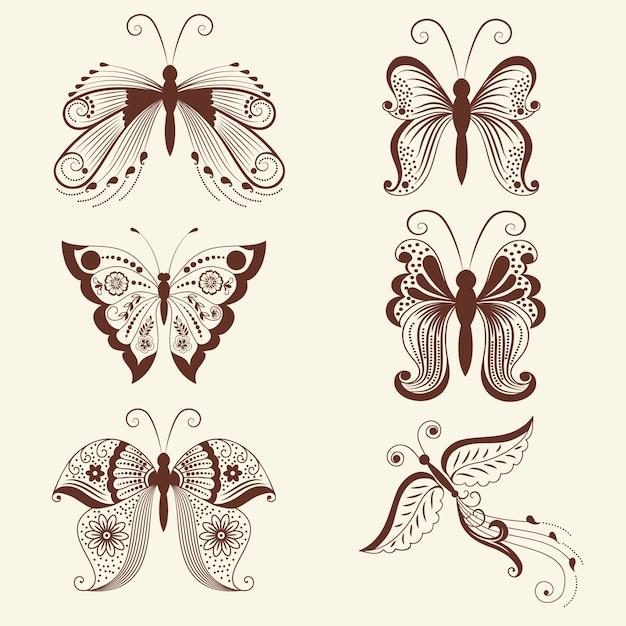 Illustration vectorielle de papillons dans l'ornement de mehndi. style indien traditionnel, éléments floraux décoratifs pour le tatouage au henné, les autocollants, le design mehndi et le yoga, les cartes et les estampes. Vecteur gratuit