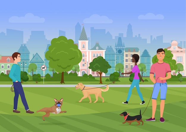 Illustration vectorielle des passants avec des chiens dans le parc de la ville Vecteur Premium