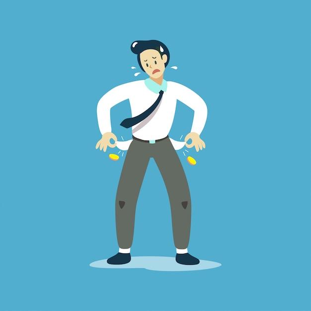 Illustration vectorielle de pauvre homme d'affaires, montrant ses poches vides Vecteur Premium