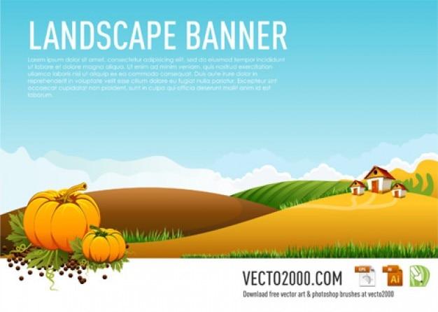 illustration vectorielle paysage bannière Vecteur gratuit