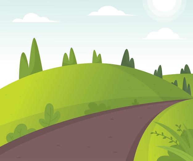 Illustration vectorielle de paysage de beaux champs Vecteur Premium