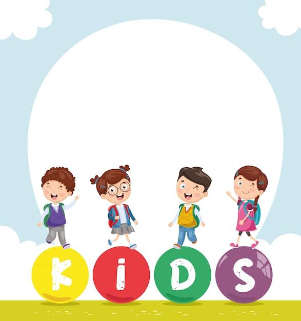Illustration vectorielle de paysage coloré d'enfants Vecteur Premium