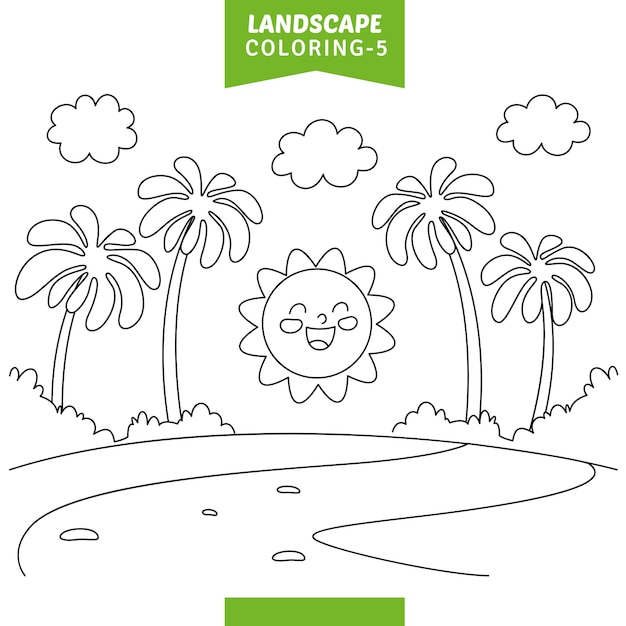 Illustration Vectorielle De Paysage Coloriage Vecteur Premium