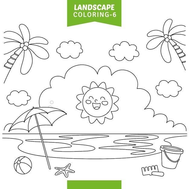 Illustration vectorielle de paysage coloriage Vecteur Premium
