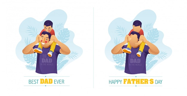 Illustration Vectorielle D'un Père Portant Son Fils Sur Ses épaules Pour La Célébration De La Fête Des Pères Vecteur Premium