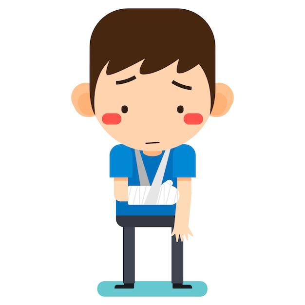 Illustration vectorielle, personnage de l'homme patient minuscule dessin animé mignon cassé le bras droit en bandage de gypse ou bras plâtré Vecteur Premium